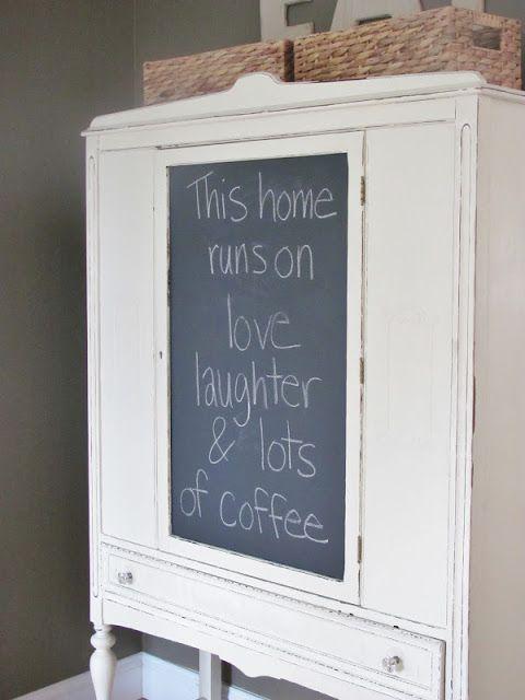 City Farmhouse DIY Cheap Chalkboard Hutch Decor themes Pinterest