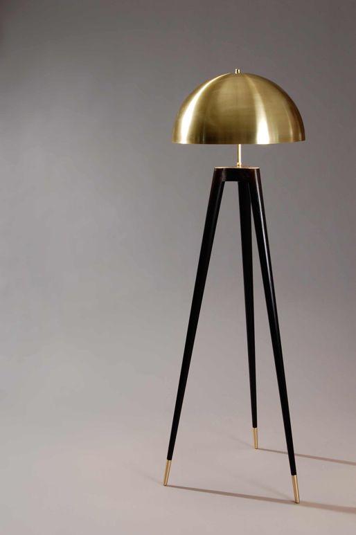 floor lamp gold brass tripod lamp floors modern floor lamps handmade. Black Bedroom Furniture Sets. Home Design Ideas
