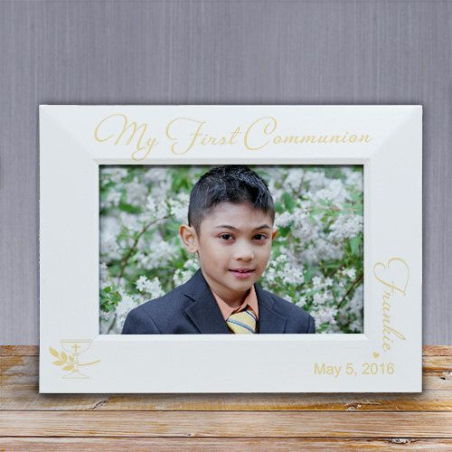 Engraved My First Communion White Wood Frame, First Communion Personalized Frame, Custom Communion White Frame by BellasPersonalGifts on Etsy https://www.etsy.com/listing/287042177/engraved-my-first-communion-white-wood