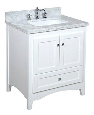 """Kitchen Bath Collection KBC3830WTCARR Abbey Bathroom Vanity Set with Marble Countertop, Cabinet with Soft Close Function and Undermount Ceramic Sink, Carrara/White, 30"""""""