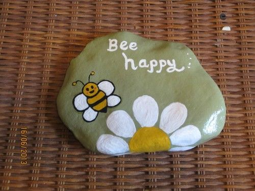 Hand Painted River Rocks Inspirational Bee Happy Lawn Garden Decor