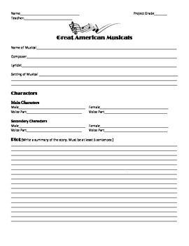 Great American Musicals Worksheet template   Theatre   Pinterest ...