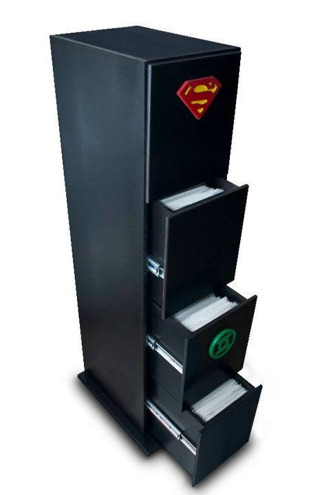 Comic storage i love this idea but my husband has 2 6 39 tall x 2 39 wide shelves filled with those - Comic book display shelves ...
