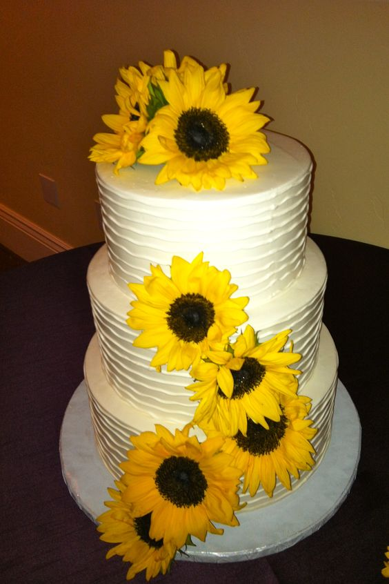Beautiful Sunflower Wedding Cakes And Wedding On Pinterest