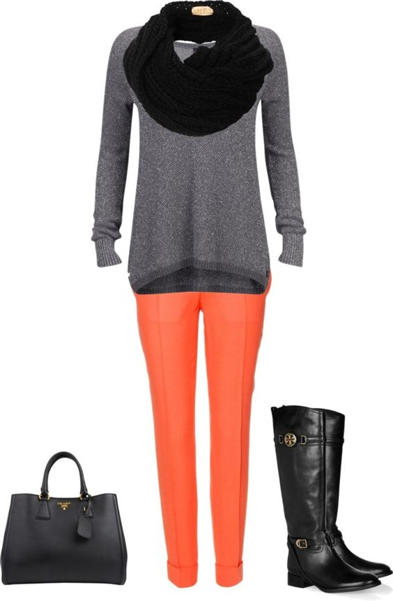 """Coral Grey and Black outfit"" by stylelover10 on Polyvore"