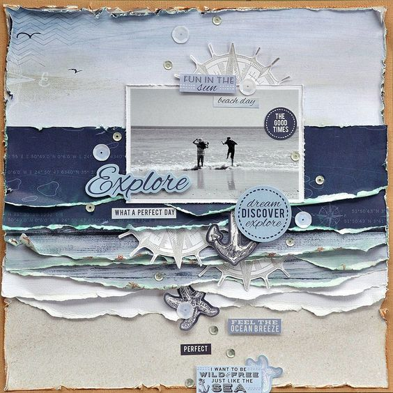 beach layout by Belinda Spencer... lots of layers mimicking the waves lapping on shore with their froth.... (notice the horizon line in photo is lined up with the paper layer's horizon) 5,000 Scrapbook Titles & Quotes, including words, sayings, phrases, captions, & idea's.