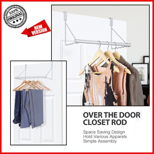 Over Door Clothes Hanging Bar Organizer Space Saver Hook Rod Rack Valet Hanger Na Closet Rod Apparel Design Simple Designs