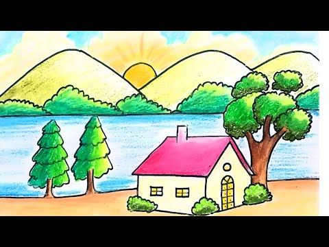 How To Draw Very Easy Beautiful Scenery With Rainbow For Kids Easy Drawings Scenery Drawing For Kids Drawing Scenery
