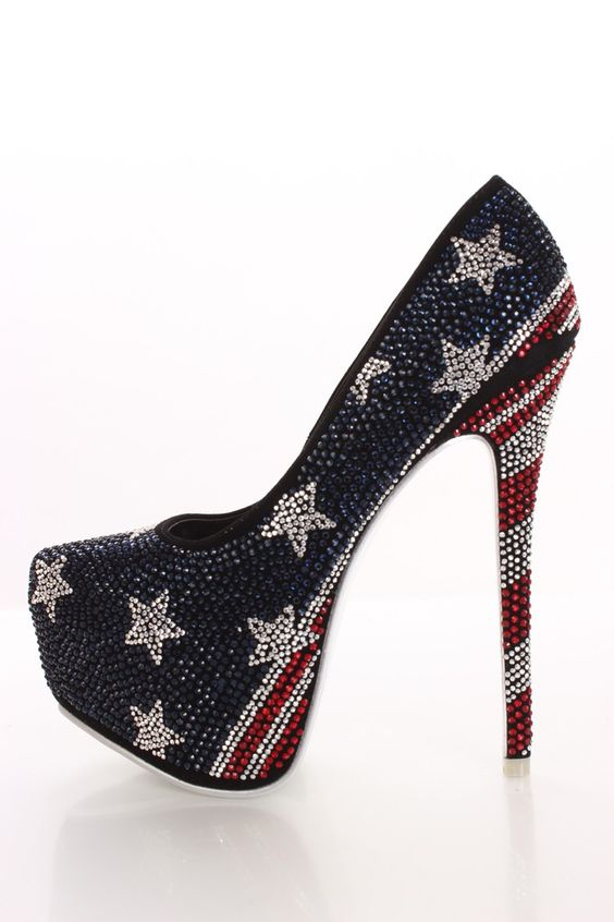 Red White and Blue Flag Heels. Flag Rhinestone Platform Pump Heels
