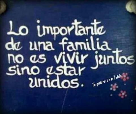La familia es el lazo más importante para mí. El apoyo y el soporte es necesario…