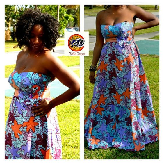 African Dress African Ankara wax Print Strapless by ZabbaDesigns, $70.00: