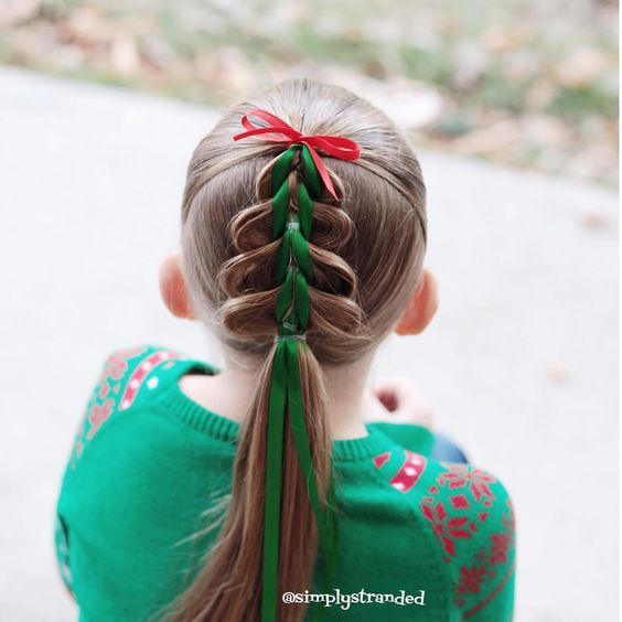 24 Easy Christmas Hairstyles For Girls Our Hairstyles Christmas Hairstyles Hair Styles Crazy Hair Days