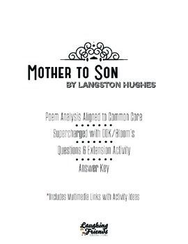 mother to son langston hughes common core poetry mothers activities and langston hughes. Black Bedroom Furniture Sets. Home Design Ideas