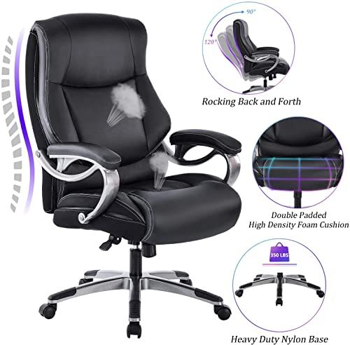 New Reficcer Big Tall High Back Executive Office Chair Bonded Leather Ergonomic Computer Desk Swivel Chair Tilt Function Thick Padding Headrest Armrest Black Online Shopping In 2020 Executive Office