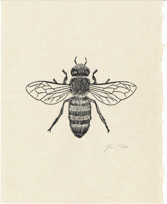 Honey Bee ~ Woodcut Prints by Graham Blair