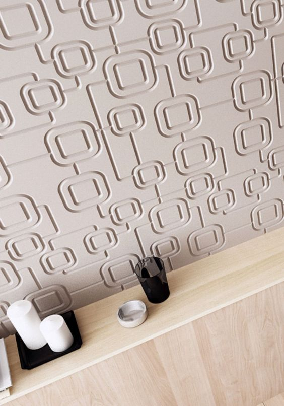 mdf 3d texturat forma patrate perete culoare crem