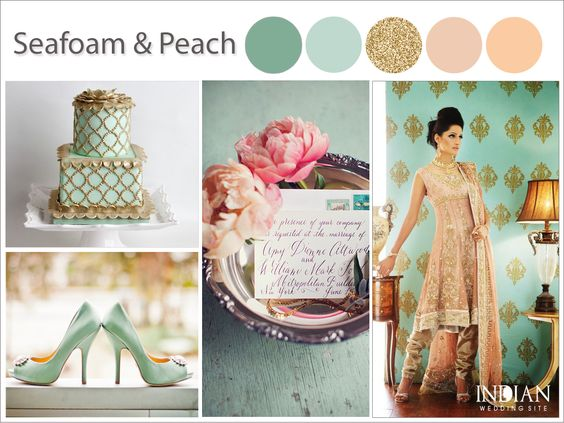 seafoam green and peach gold indian wedding color palette theme from httpwww