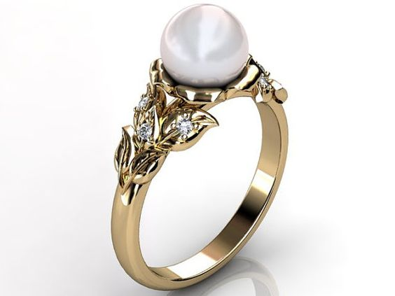 Reserved for Elias M. 18k Yellow Gold Pearl Engagement by Jewelice