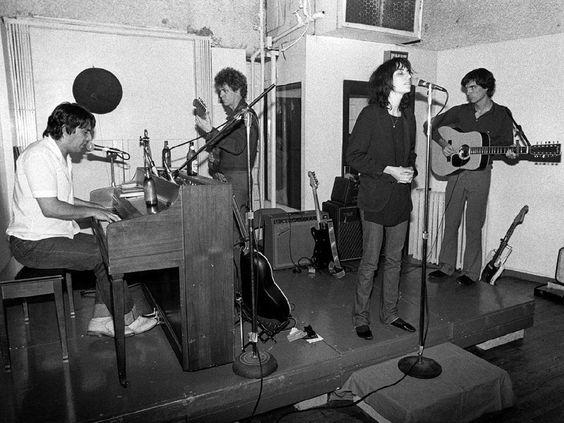 apanelofanalysts:  John Cale, Lou Reed, Patti Smith & David Byrne, 1976