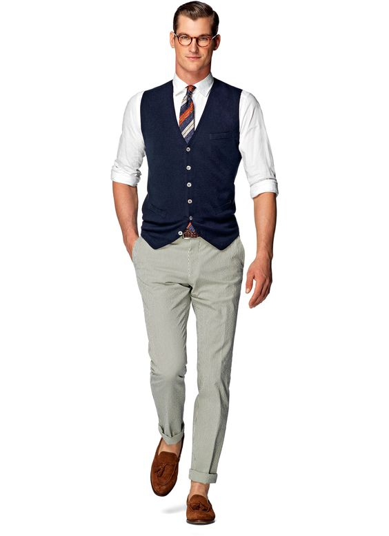 Navy Knitted Waistcoat Sw485 | Suitsupply Online Store