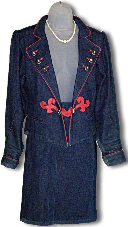 Trachten Leather Trimmed Skirt Suit Denim CUSTOM made OOAK Sz 6 red jeans blue 2 pcs