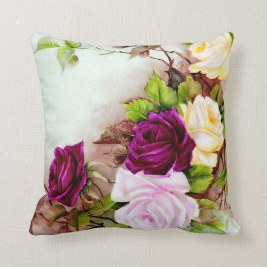 Antique Hand Painted Roses Pattern Throw Pillow Zazzle Com Throw Pillows Hand Painted Pillows Hand Painted Roses