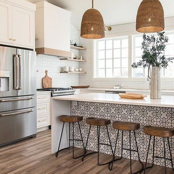 This Is the Countertop Trend Were Seeing Everywhere | Real Simple #trending #countertop #wallpaper #new #stools #kitchen #own #detail #interiordesign #kitchenisland #simple #pattern #minimalist