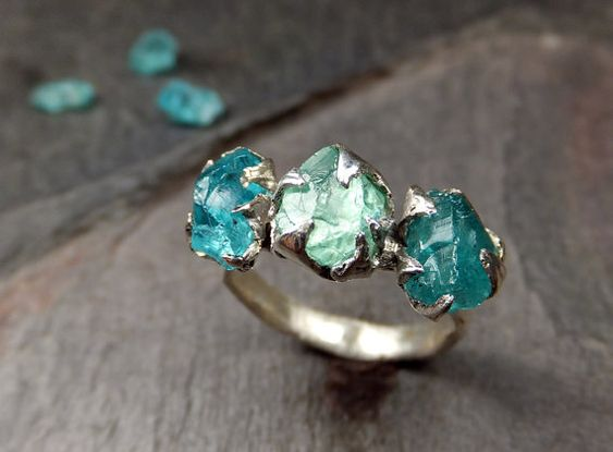 Raw Apatite Crystal Ring Yellow Ring Yellow Apatite Ring Golden Apatite Jewelry Rough Apatite Ring Yellow Gemstone Ring