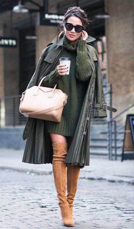 Street style look com vestido suéter.