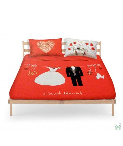 Evviva Gli Sposi Set Lenzuola Matrimoniale Bassetti Love Is A Couple Just Married Camera Da Letto Da Sogno Camera Da Letto Lenzuola