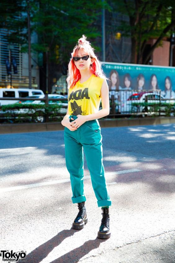 Japanese Model Ashley in Harajuku w/ D.O.A Top, Aqua Pants, Dr. Martens & Paris Miki Sunglasses
