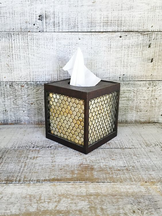 Tissue Box Cover Tissue Box Holder Mid Century Plastic Tissue Box Cover Vintage Bathroom Decor Cottage Chic Tissue Cover Rustic Industrial by TheDustyOldShack on Etsy