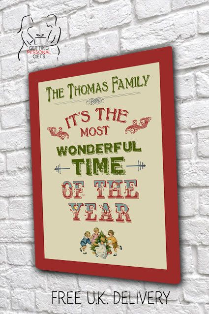 Most Wonderful time of the year Christmas Personalised Family Metal Wall Plaque by GettingpersonalGifts on Etsy