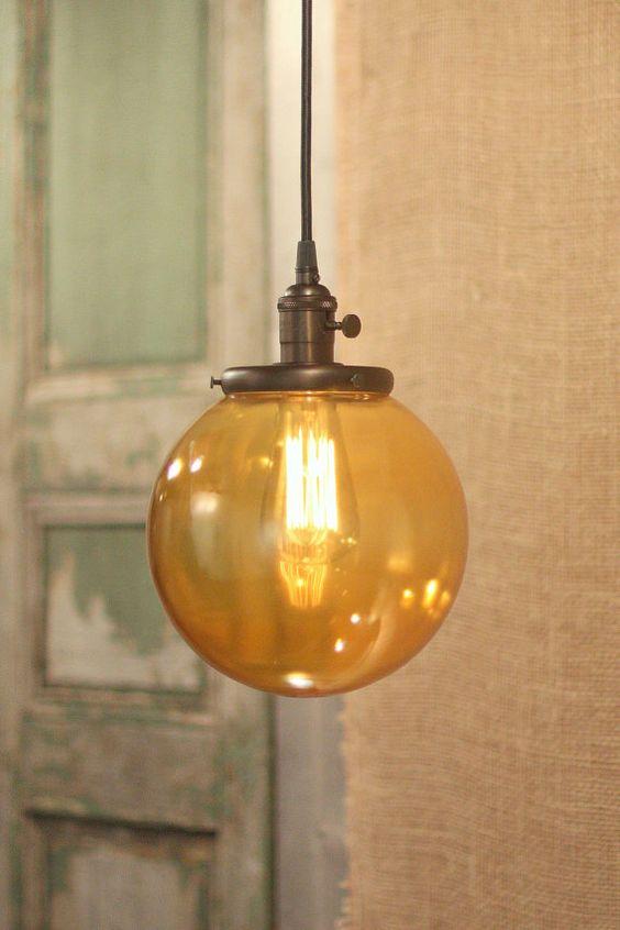 pendant light with amber orange glass globe 8 inch amber pendant lighting