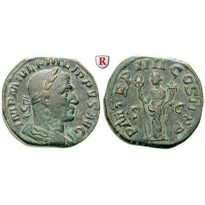Römische Kaiserzeit, Philippus I., Sesterz 244, f.vz: Philippus I. 244-249. Messing-Sesterz 28 mm 244 Rom. Drapierte und gepanzerte… #coins