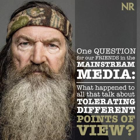 Charles C.W. Cooke writes that Phil Robertson's words hurt no one, and his punishment is more evidence of a disturbing trend in American media and culture. Click this link to read more -->  http://natl.re/1jnriMR