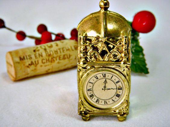 Dollhouse Miniature Clock Dollhouse Accessory Table by GSaleHunter