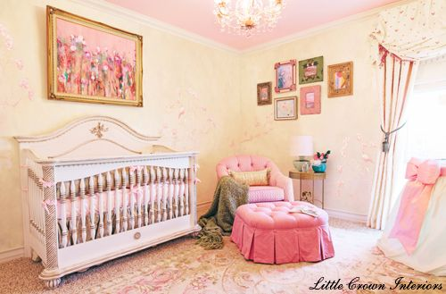 Sophisticated and chic nursery- love the abstract art hanging over the crib! #nursery #pinkandgold