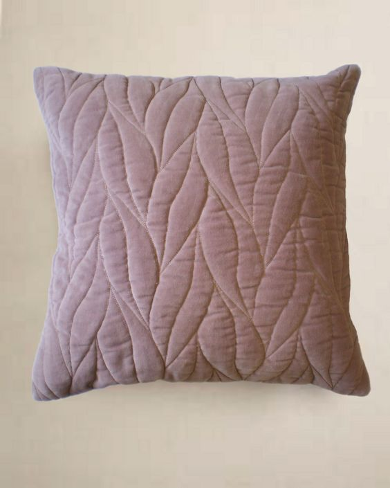 Design Trends 2013: Quilted Design - ELLE DECOR -  Quilted Leaf Cotton Velvet Cushion - Nitin Goyal