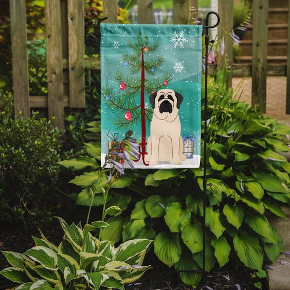 Merry Christmas Tree Mastiff 2-Sided Garden Flag
