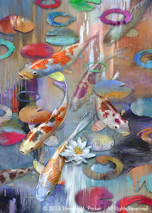 Modern art fish paintings and ponds on pinterest for Original koi fish