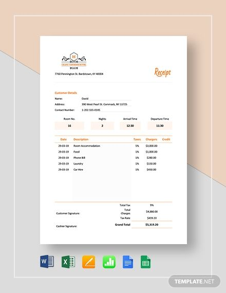 Printable Hotel Receipt Template Free Pdf Word Excel Apple Pages Google Docs Google Sheets Apple Numbers Receipt Template Invoice Template Word Invoice Design Template