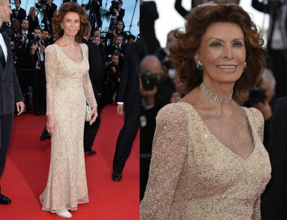 Sophia Loren In Giorgio Armani - 'Voce Umana' Cannes Film Festival Premiere. Re-tweet and favorite it here: https://twitter.com/MyFashBlog/status/468905051915059203/photo/1