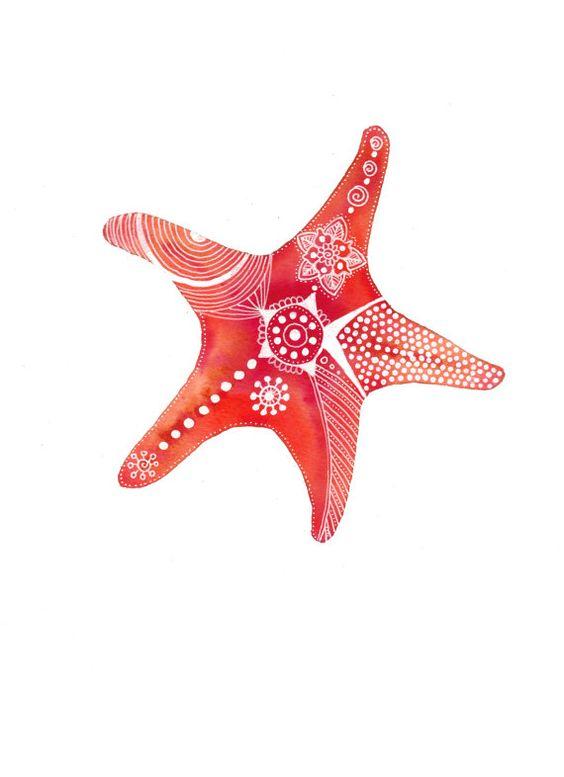 Étoile de mer rouge-rouille d'archives Art Print par MagaMerlina