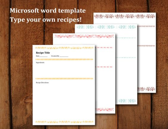 Printable Recipe Pages Microsoft Word Editable Letter Size Recipe Book Templates Book Template Printable Recipe Page Microsoft word recipe templates