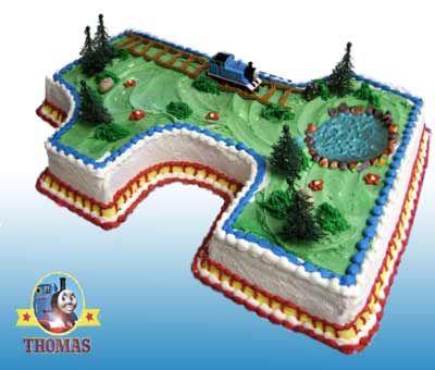 Island of sodor/thomas the tank engine birthday cake