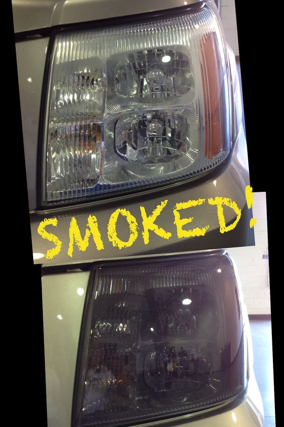 2003 Cadillac Escalade Smoked front headlights.