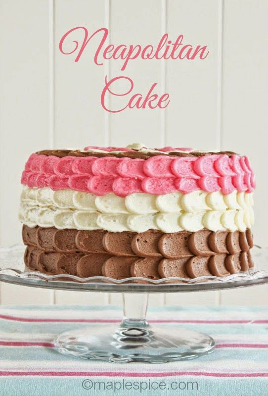 Neapolitan Cake - Chocolate, Vanilla and Strawberry Layer Cake with a Petal Design Frosting. All vegan :-)