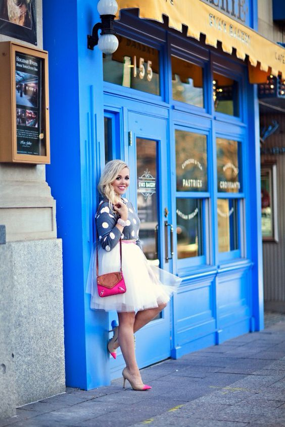 Loving the polka dot blouse and tulle skirt outfit pairing!