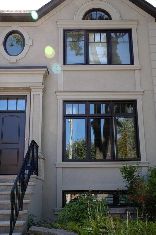 Black Vinyl Casement Windows With Transom Fieldstone Windows Window Trim Exterior Casement Windows Window Design